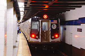MTA NYC Subway M train leaving Roosevelt Avenue.jpg