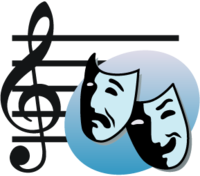 Treble clef overlaid with a bluish ellipse bearing the tragedy and comedy masks of the theater