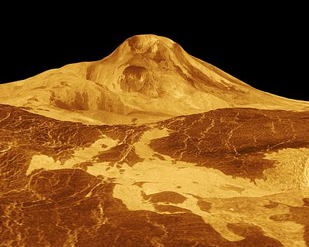 False-colour image of Maat Mons with a vertical exaggeration of 22.5 Maat Mons on Venus.jpg