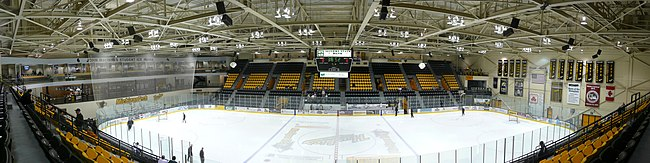Panorama of John MacInnes Student Ice Arena showing recent improvements.