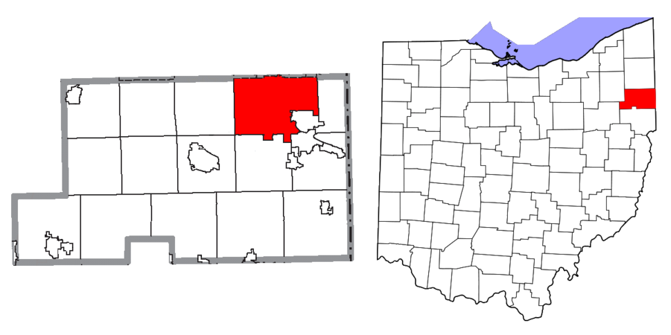 Location of Youngstown in Mahoning County and state of Ohio