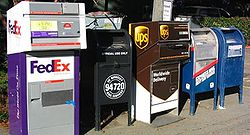 In the United States, private companies such as FedEx and UPS compete with the federal government's United States Postal Service, particularly in package delivery. Different mailboxes are also provided for local and express service. (The USPS has a monopoly on First Class and Standard Mail delivery.)