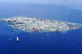 Aerial view o the hale o Malé proper on the eponymous island