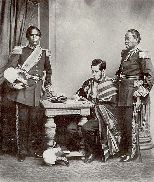 File:Malagasi Embassy to Europe 1863 Rainifiringa Ralahimaholy with Rev John Duffus and Rasatranabo na Rainandrianandraina.jpg