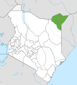 Location of Mandera County (Green)