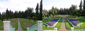 Manito Park and Botanical Gardens - The Duncan Garden in 2003, before and after flowers were planted.