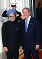 Manmohan Singh with the US President, Mr. George Bush at a dinner hosted by him in White House in connection with the Summit on Financial Market and the World Economy, at Washington, USA on November 14, 2008.jpg