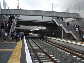 Manukau Branch - The trenched approach to Manukau station, the terminus, seen from the west.