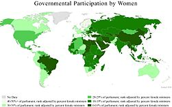 A world map showing female governmental participation by country, 2010.