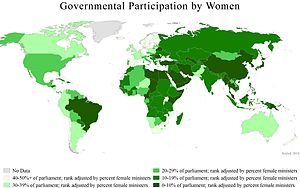 Women in government -  A world map showing countries governmental participation by women, 2010.