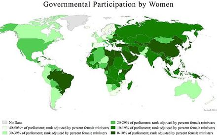 A world map showing countries governmental participation by women, 2010. Map3.8Government Participation by Women compressed.jpg