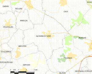 Alignan-du-Vent - Map