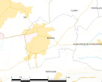Bompas, Pyrénées-Orientales - Map of Bompas and its surrounding communes