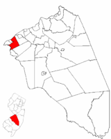 Cinnaminson Township highlighted in Burlington County. Inset map: Burlington County highlighted in the State of New Jersey.