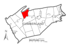 Map of Cumberland County, Pennsylvania highlighting Upper Frankford Township