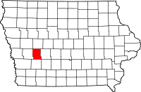 Map of Iowa highlighting Audubon County