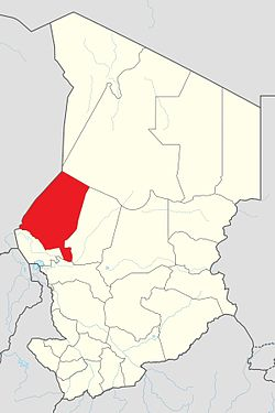 Map of Chad showing Kanem.