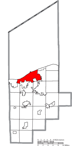 Location of Lorain in Lorain County