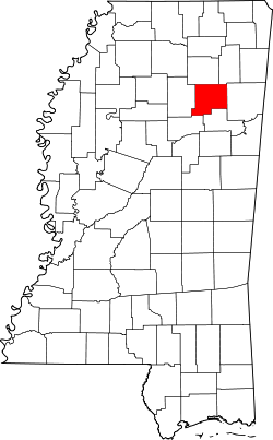 map of Mississippi highlighting Chickasaw County