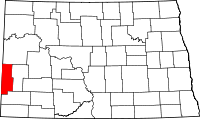 Locatie van Golden Valley County in North Dakota