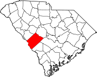 Map of Јужна Каролина highlighting Aiken County