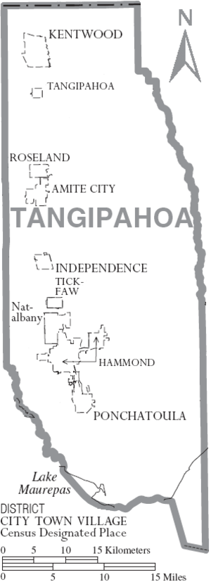 Tangipahoa Parish, Louisiana - Map of Tangipahoa Parish, depicting municipal boundaries