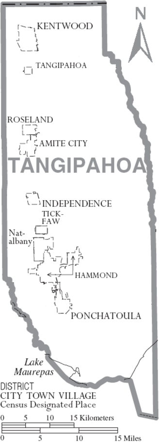 Tangipahoa Parish, Louisiana - Map of Tangipahoa Parish, depicting municipal boundaries