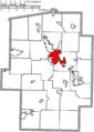 Map of Tuscarawas County Ohio Highlighting New Philadelphia City.png
