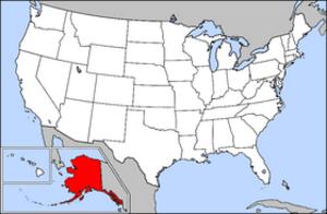 Alaska School Activities Association - Image: Map of USA highlighting Alaska