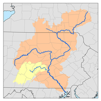 Map of the Susquehanna River watershed with Juniata River watershed highlighted.png