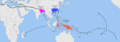 Map showing centers of origin of Saccharum officinarum in New Guinea, S. sinensis in China, and S. barberi in India.png