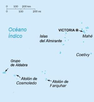 Mapa de las Seychelles.