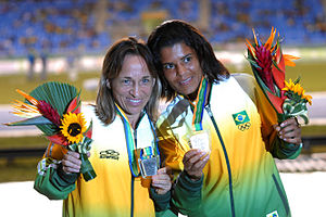 Athletics at the 2007 Pan American Games - Márcia Narloch and Sirlene Pinho with their marathon medals
