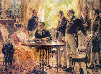 Martim Francisco Ribeiro de Andrada - Archduchess Maria Leopoldina of Austria, acting as regent during the 2 September 1822 meeting where it was decided to support the independence of Brazil. Martim Ribeiro de Andrada is seated to her left and his brother José is standing and gesturing towards the Empress.
