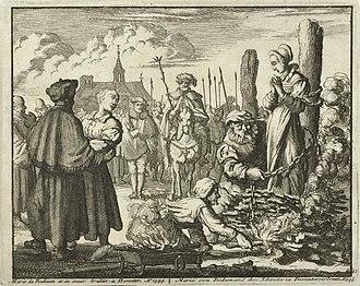 Maria van Beckum - Maria van Beckum being chained to the stake, by Jan Luiken