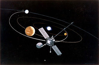 Mariner 10 - Artists' impression of the Mariner 10 mission. The first mission to perform a gravity assist, it used a flyby of the planet Venus in order to decrease its perihelion. This would allow the spacecraft to meet Mercury on three occasions in 1974 and 1975.