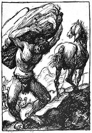Svaðilfari - A depiction of the unnamed master builder with the horse Svaðilfari (1919) by Robert Engels.