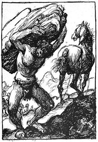 Svaðilfari - A depiction of the unnamed master builder with the horse Svaðilfari (1919) by Robert Engels.