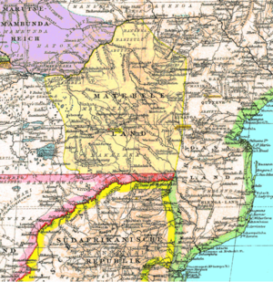 An 1887 map of southern Africa showing {{w|Mat...