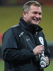 Matjaž Kek as head coach of Slovenia national football team during the team's practice at the Luzhniki Stadium in Moscow.
