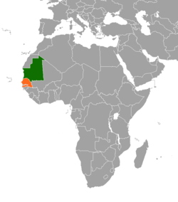 Map indicating locations of Mauritania and Senegal