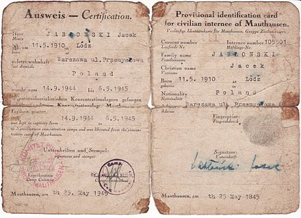 Temporary identity papers produced for Mauthausen detainee after camp liberation. - Mauthausen-Gusen concentration camp