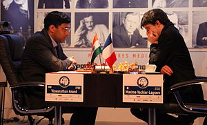 Maxime Vachier-Lagrave - Vachier-Lagrave playing against Viswanathan Anand during the Alekhine Memorial in Paris, 2013