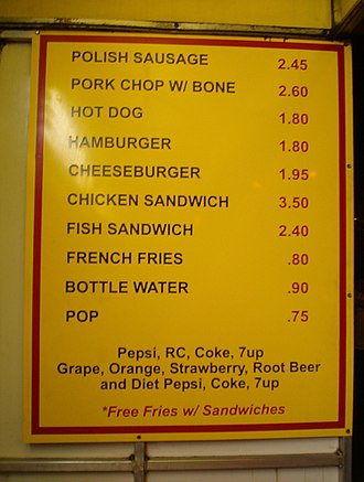 """Names for soft drinks in the United States - Price list at Chicago's Express Grill, showing the word """"pop"""" at the bottom"""