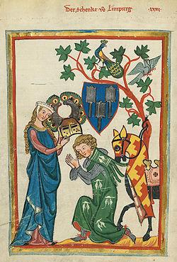 miniature médiévale. Un chevalier agenouillé et les mains jointes, reçoit son heaume des mains de sa Dame