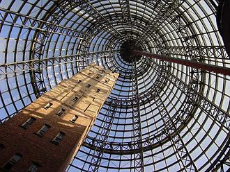 Shot tower - Coops (Melbourne Central) Shot Tower, encased by the Melbourne Central cone