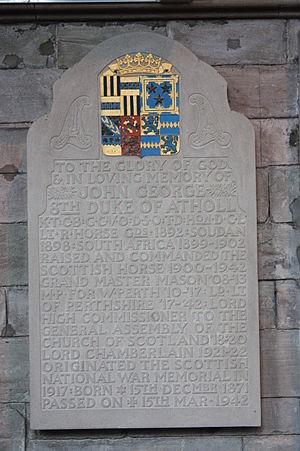 John Stewart-Murray, 8th Duke of Atholl - Memorial to John George, 8th Duke of Atholl, Dunkeld Cathedral