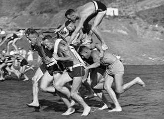 Surf lifesaving - Chariot race, Piha Surf Club carnival, New Zealand c. 1938