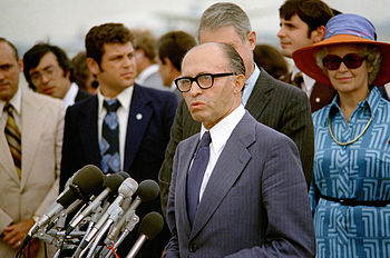 Israeli Prime Minister Menachem Begin delivers...