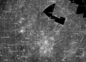 Beethoven quadrangle - Mariner 10 photomosaic
